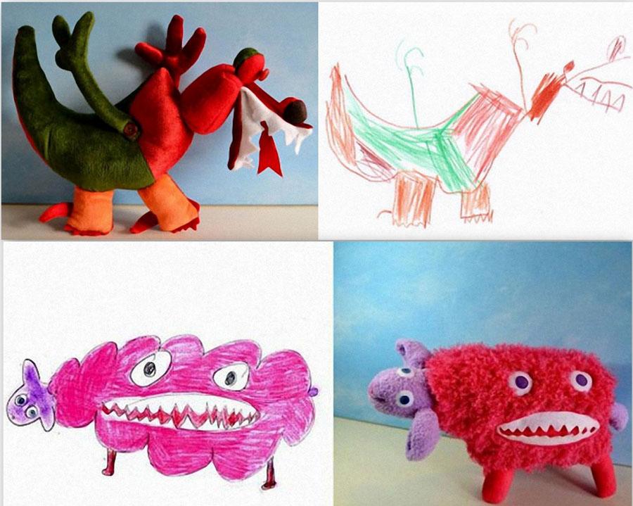 мягкие игрушки по рисункам детей как вариант заработка
